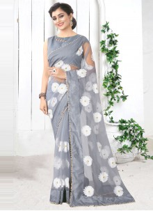Net Printed Saree in Grey