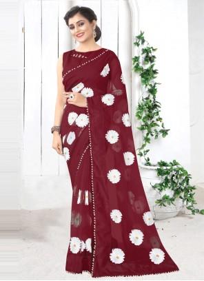 Net Printed Saree in Maroon