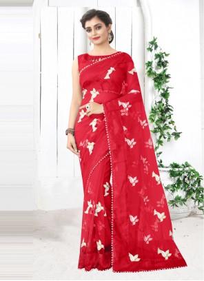 Net Red Printed Festival Saree