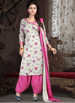 Print Off White and Pink Punjabi Suit