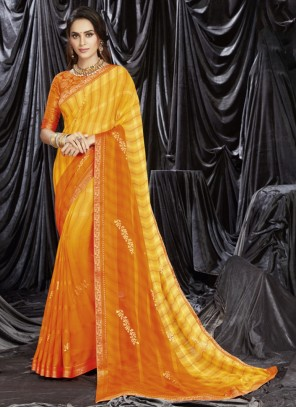 Print Orange and Yellow Shaded Saree