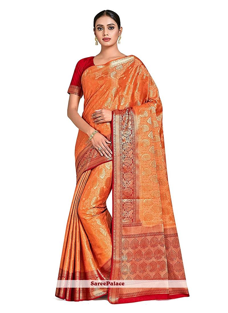 Print Orange Designer Traditional Saree