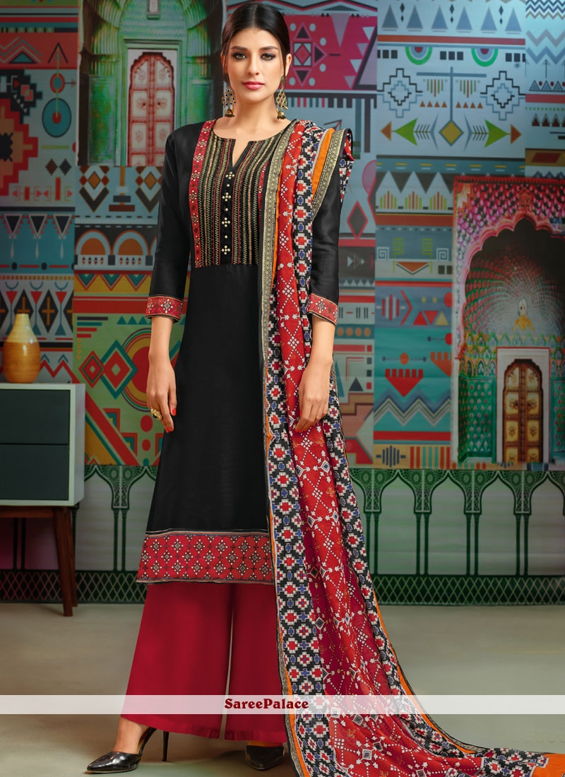 Black Print Party Designer Palazzo Suit
