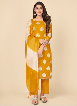 Mustard Print Party Pant Style Suit