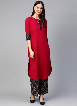 Red Print Party  Wear Kurti