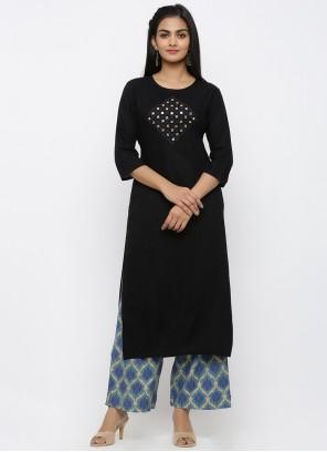 Black Print Party Salwar Suit