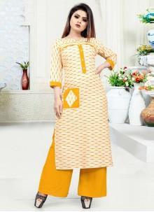 Yellow Blended Cotton Print Party Wear Kurti