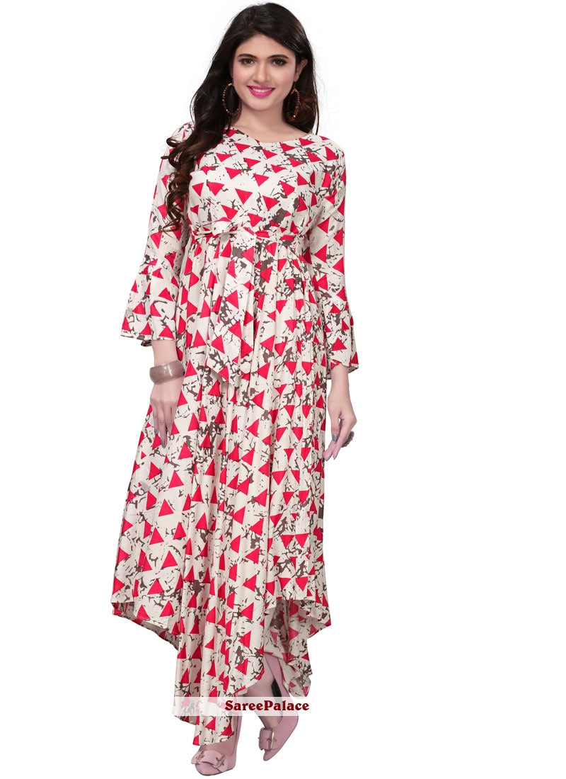 Print Pink and White Party Wear Kurti