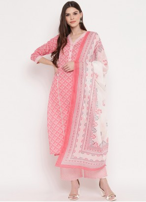 Print Pink Cotton Readymade Suit