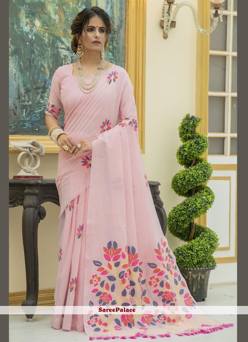 Print Pink Linen Classic Designer Saree