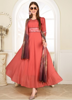 Print Pink Muslin Salwar Suit