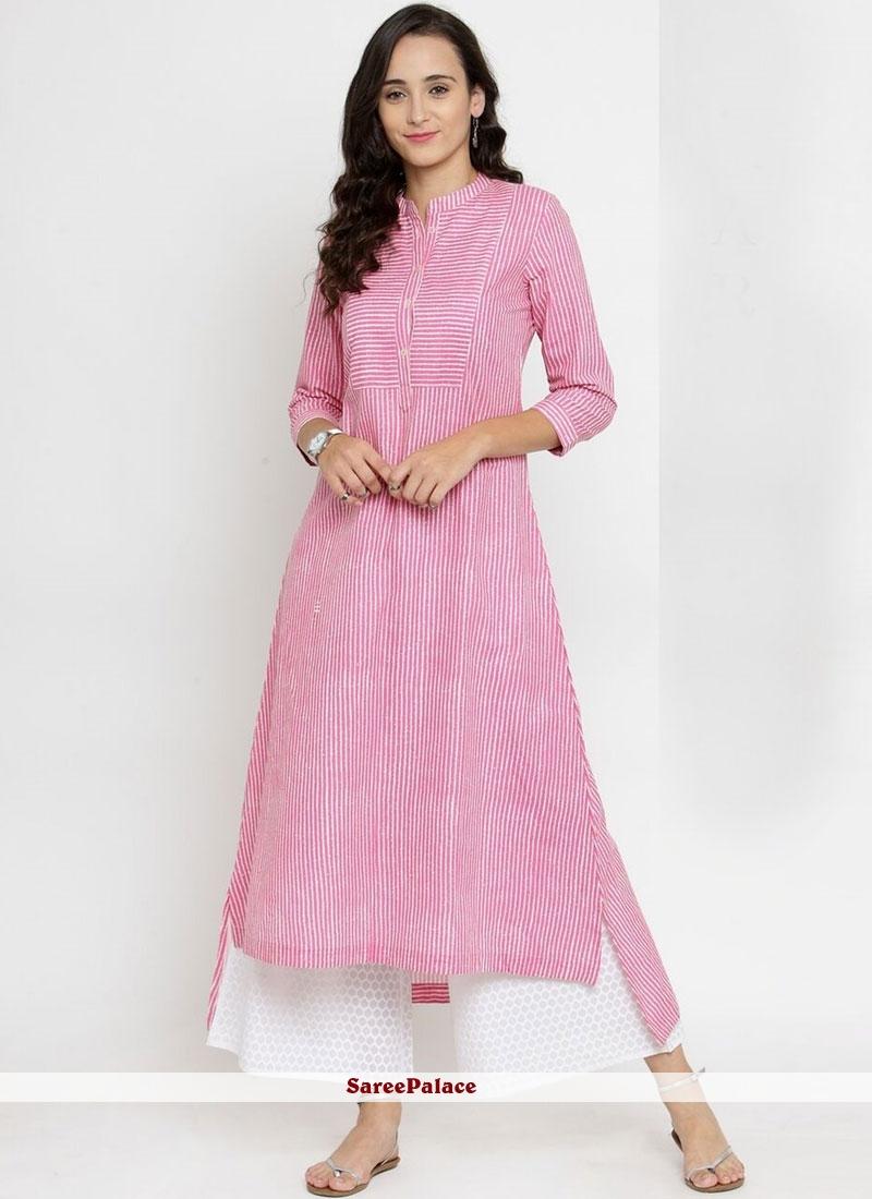 Print Pink Party Wear Kurti