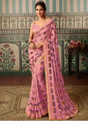 Print Pink Faux Georgette Trendy Saree