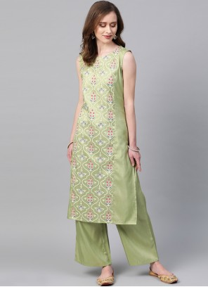Green Print Poly Silk Casual Kurti