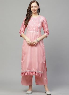 Print Poly Silk Casual Kurti in Pink
