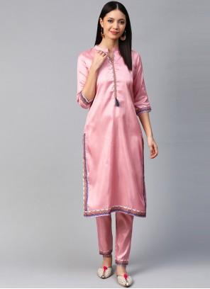 Pink Print Poly Silk Designer Kurti