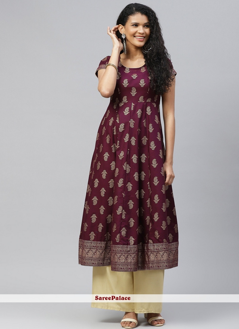 Print Purple Cotton Designer Kurti