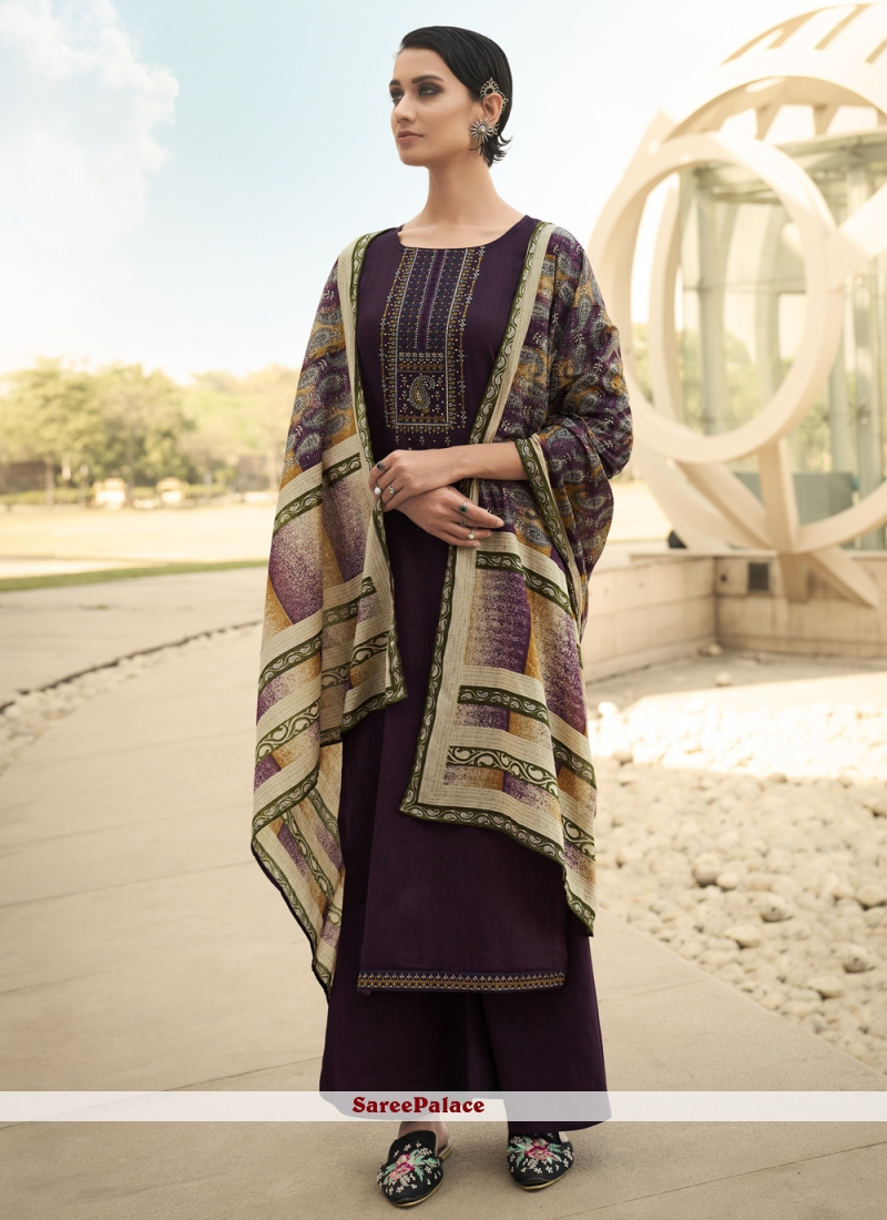 Print Purple Designer Palazzo Suit