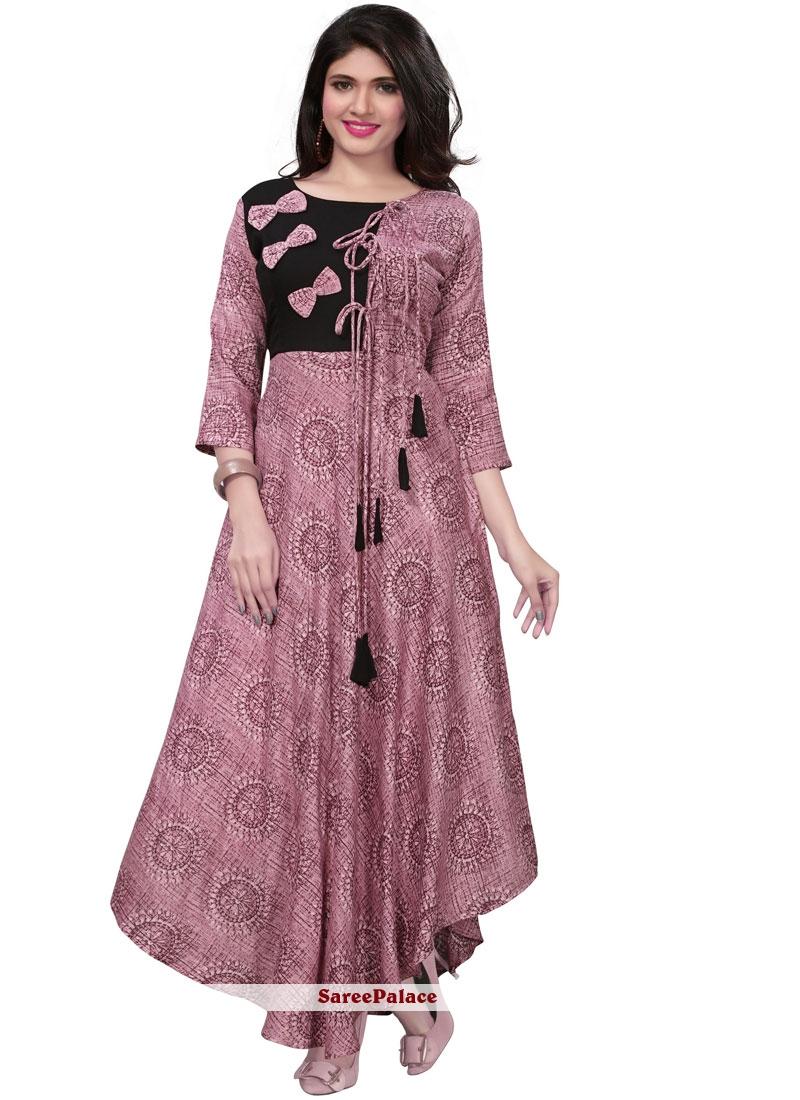 Print Purple Rayon Party Wear Kurti