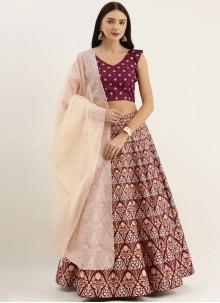Print Raw Silk Lehenga Choli in Purple