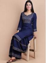 Print Rayon Designer Kurti in Navy Blue