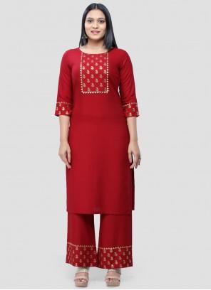 Print Rayon Designer Kurti in Red