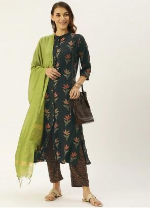 Print Rayon Grey Straight Salwar Suit