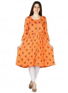 Print Rayon Orange Party Wear Kurti