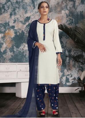 Print Rayon Punjabi Suit in Off White