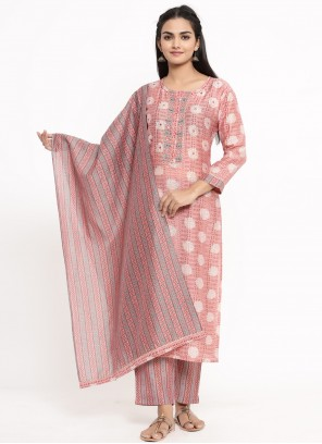 Print Rayon Readymade Suit in Pink