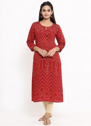 Print Rayon Red Party Wear Kurti