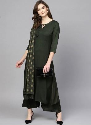 Print Rayon Salwar Suit in Green