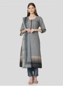 Grey Print Salwar Suit