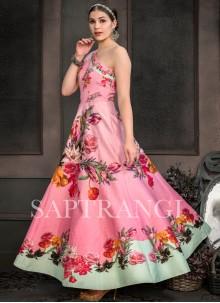 Print Sangeet Multi Colour Designer Gown