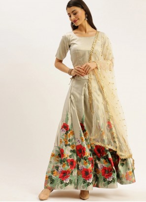 Print Satin Lehenga Choli in Grey
