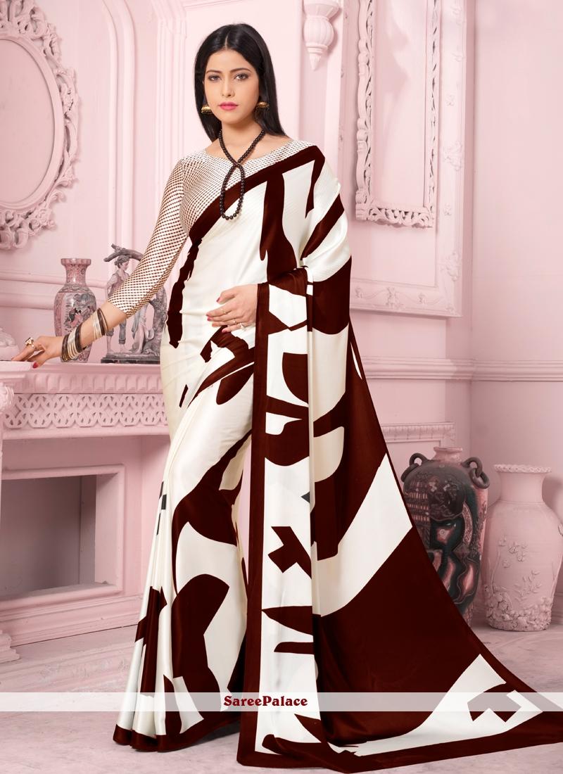Print Satin Silk Brown and White Casual Saree