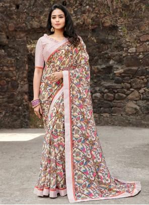 Print Satin Silk Saree in Multi Colour
