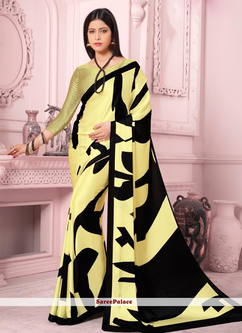 Print Satin Silk Yellow Casual Saree
