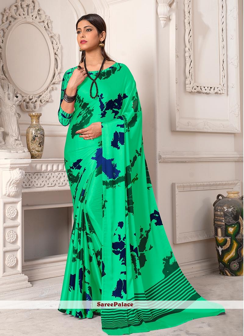 Sea Green Satin Silk Printed Saree