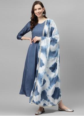 Print Silk Blue Designer Palazzo Salwar Kameez