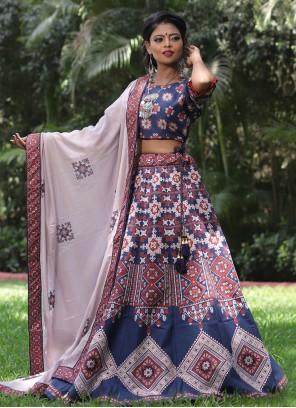 Print Silk Multi Colour Lehenga Choli
