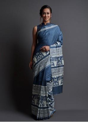Navy Blue Silk Printed Saree