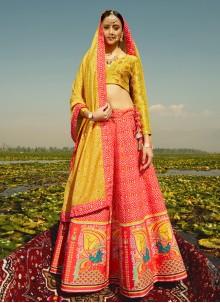 Print Silk Readymade Lehenga Choli in Red
