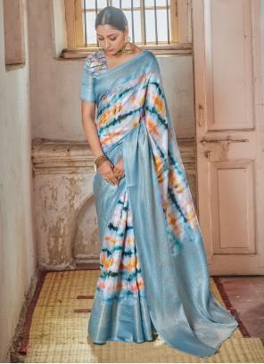 Multi Colour Print Silk Traditional Saree