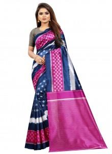 Print Silk Traditional Saree in Multi Colour