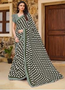 Weight Less Printed Grey Traditional Saree