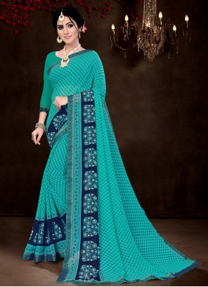 Faux Georgette Printed Turquoise Saree Casual