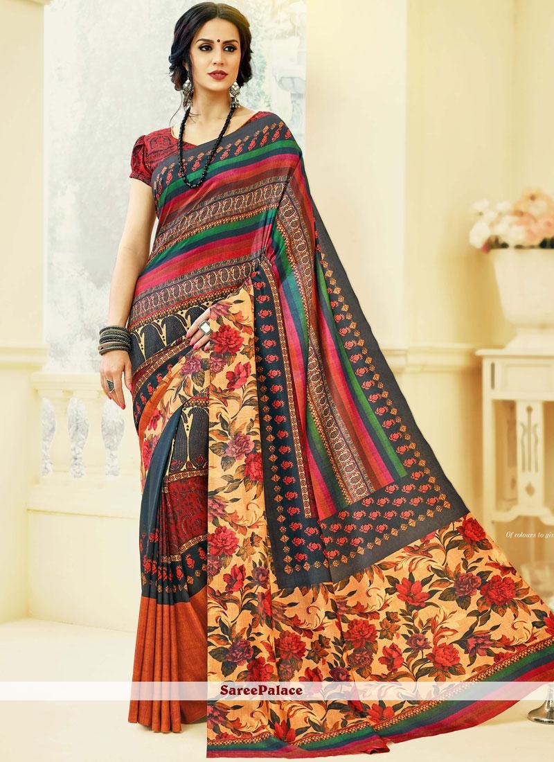 Tussar Silk Multi Colour Printed Saree