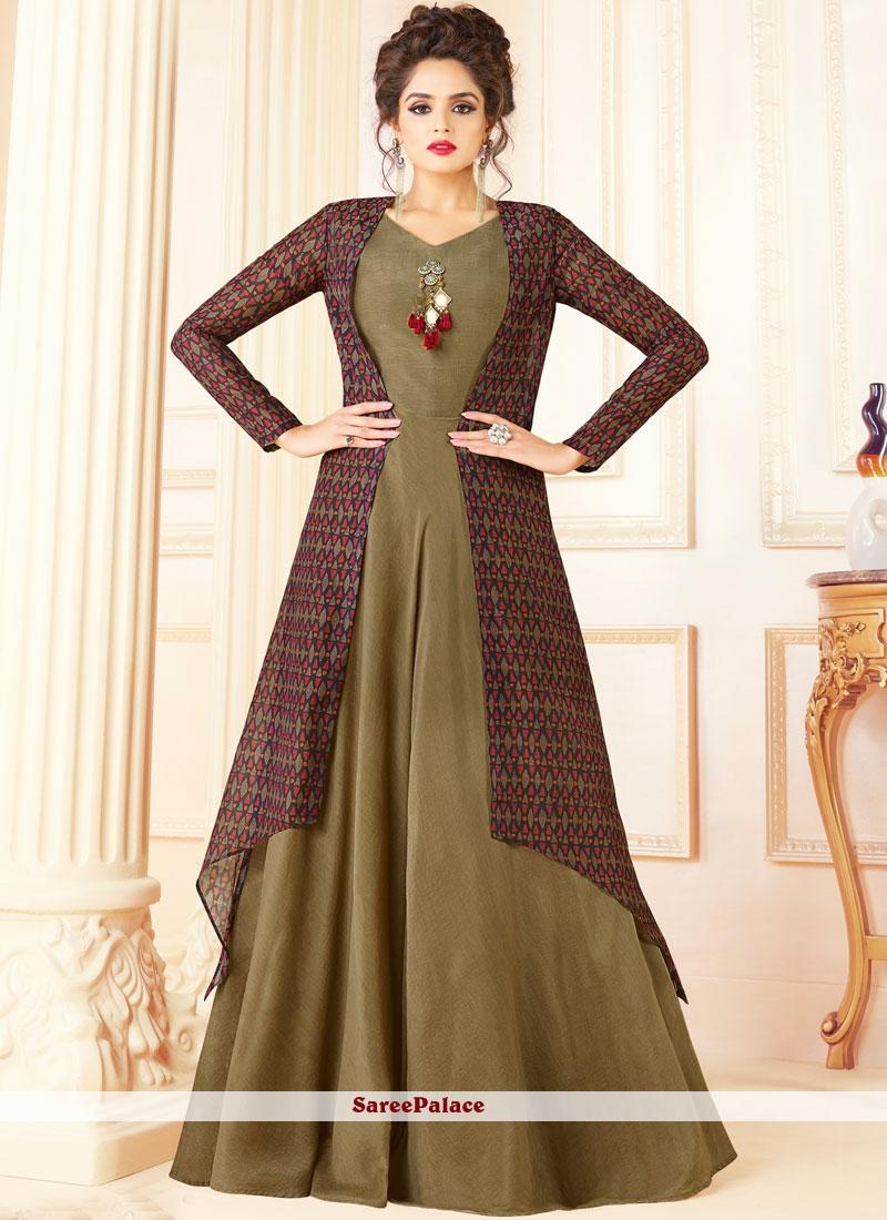 Print Work Chanderi Designer Suit