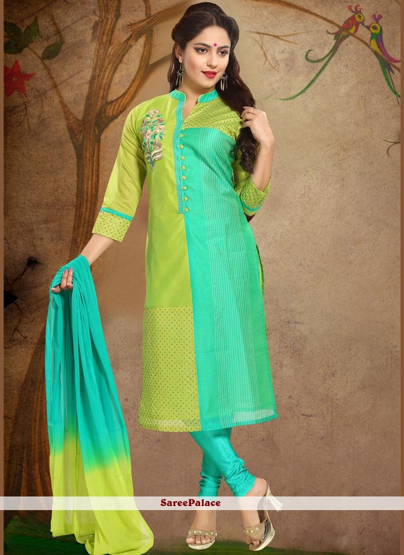 Print Work Green Chanderi Readymade Suit